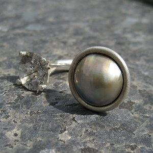 Silberring mit Mabeperle und Turmalinquartz